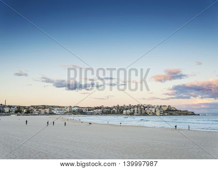 famous bondi beach view at sunset dusk near sydney australia