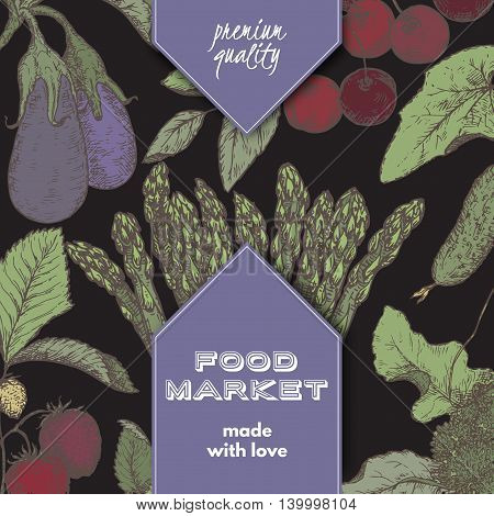 Food market label template with hand drawn color sketch of berries and vegetables on black background. Great for store and packaging design.