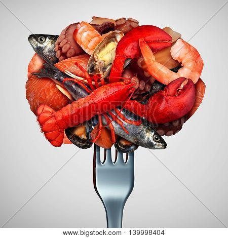Seafood concept as a group of shellfish crustacean and fish grouped together on a fork as a fresh meal from the ocean as lobster steamed clams mussels shrimp octopus and sardines as a sea gourmet dinner icon with 3D illustration Elements.
