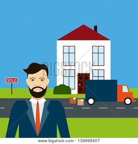 Male estate agent smiles on the background of sold house