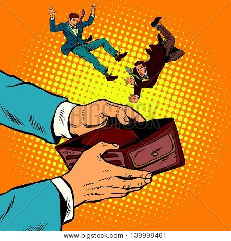 corruption bribe dependent on the money people pop art retro vector illustration