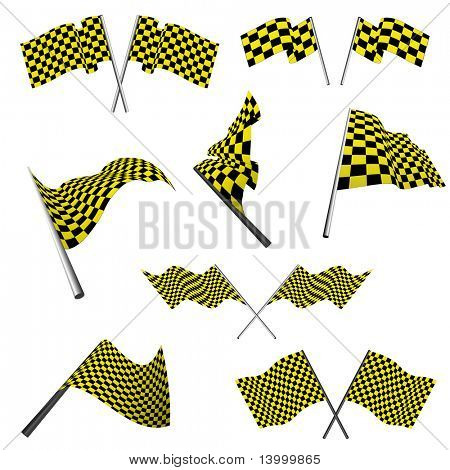 Yellow and black checked racing flags set. Vector illustration.