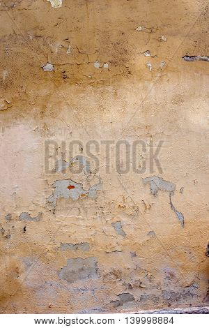 Old Yellow Stained Wall. Grunge Texture