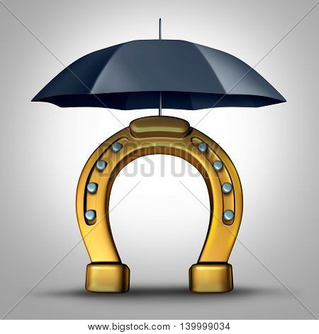 Financial prosperity security and protecting fortune wealth metaphor and luck concept as a horse shoe or horseshoe icon pretected by an umbrella as a 3D illustration.