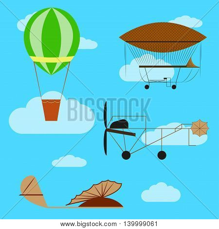 Set of old aircraft: airship, air balloon, first model airplanes on blue cloudy sky