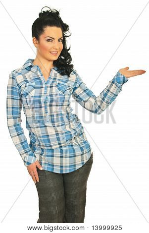 Attractive Model Woman With Empty Palm