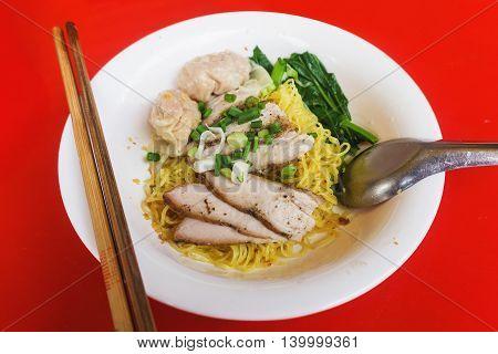 Egg noodles served