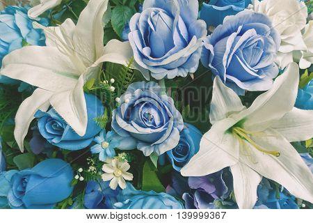 blue flower plastic bouquet in vintage style
