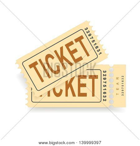 A pair of vintage tickets with a tear line and a tear part. No transparency. Ticket isolated illustration. Vector illustration
