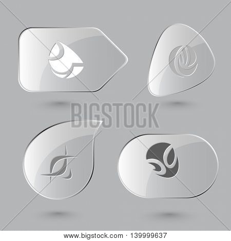 4 images of unique abstract forms.Glass buttons on gray background. Vector icons set..