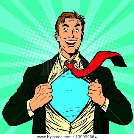Super hero male businessman pop art retro vector illustration
