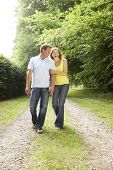 stock photo of middle-age  - Middle aged couple walking in countryside - JPG