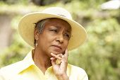 pic of african american woman  - Senior Woman With Thoughtful Expression - JPG