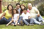 stock photo of extend  - Portrait Of Extended Family Group In Park - JPG