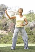 stock photo of tai-chi  - Senior Woman Exercising In Park - JPG