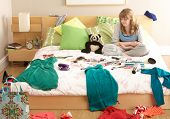 image of untidiness  - Teenage Girl In Untidy Bedroom - JPG