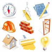 stock photo of roller door  - Vector architecture detailed icon set - JPG