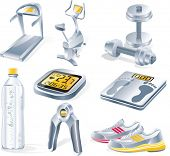 stock photo of rep  - Vector fitness equipment icon set - JPG
