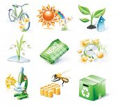 Vector cartoon style icon set. Part 21. Ecology