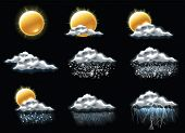 stock photo of rainy weather  - Vector weather forecast icons - JPG