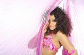 pic of belly-dance  - Belly of the woman dancing in the pink dancing dress - JPG