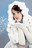 stock photo of pon  - Portrait of a Winter woman - JPG