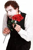 pic of clown rose  - mime holding a rose  - JPG