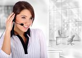 stock photo of telephone operator  - Customer Representative with headset smiling during a telephone conversation - JPG