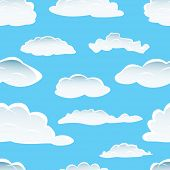 Seamless fluffy cloudy background for design use poster
