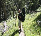 stock photo of beartooth  - A young man backpacking in the West Fork of the Rock Creek Montana - JPG
