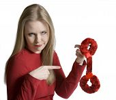 Doubting Woman With Furry Handcuffs poster