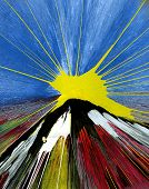 Постер, плакат: Оригинал абстрактных нефти живописи восход гора
