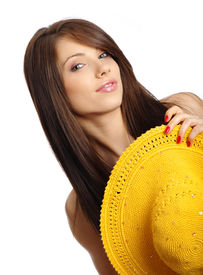 picture of body shapes  - beautiful sexy woman with yellow hat - JPG