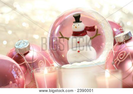 Snow Globe With Pink  Balls