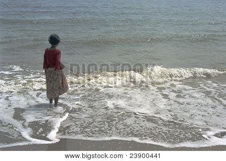 Girl Watching Waves