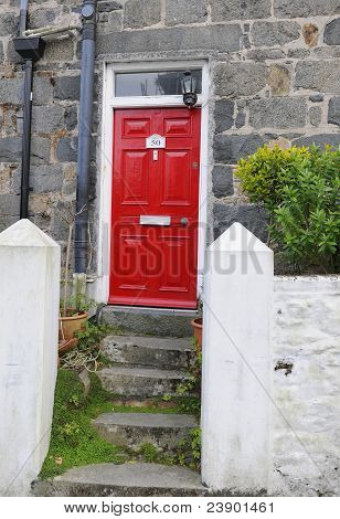 Red  Door And Steps.