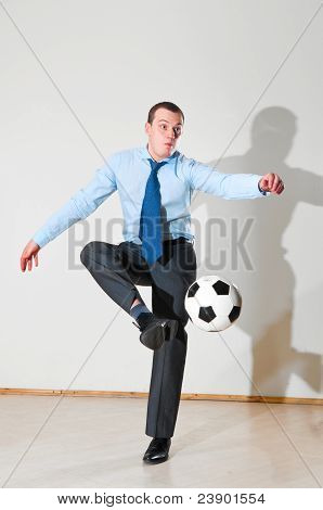 playing football at office