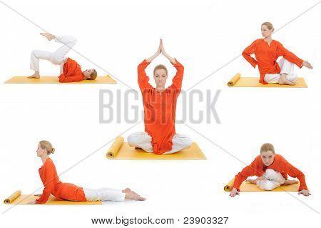 Collage Yoga Photos. Young Woman Doing Yoga Exercises
