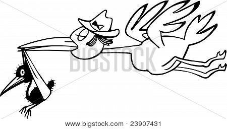 Stork carring nestling