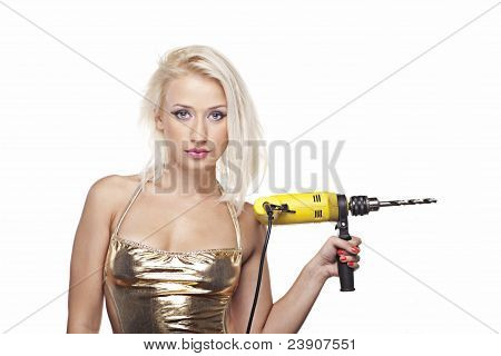 Blonde Model With A Power Drill