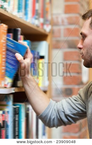 Portrait of a male student picking a book in a library