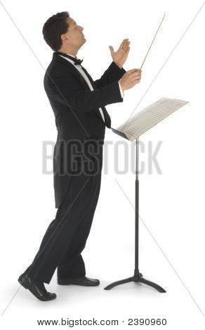 Orchestra Conductor On White