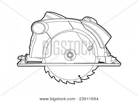 Vector outline circular saw on white background