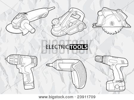 Herramientas eléctricas del vector en fondo gris