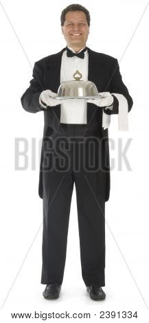 Waiter Standing On White