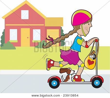 Scooter Girl And House