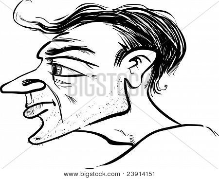 Man Profile Caricature