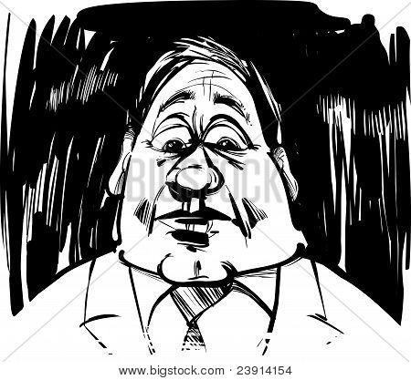 Startled Man Caricature Illustration