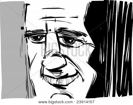 Smiling Man Caricature