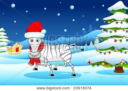 zebra wearing santa cap